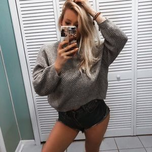 Express Gray Oversized Cropped Turtleneck Sweater